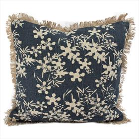 Myrtle Print Cushion - Prussia Blue