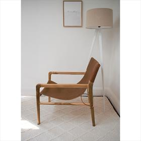 Teak Leather Sling Chair Tan