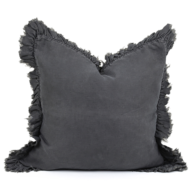 Linen Frill Cushion Charcoal