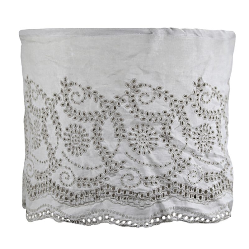Linen Lampshade with Embroidery Taupe