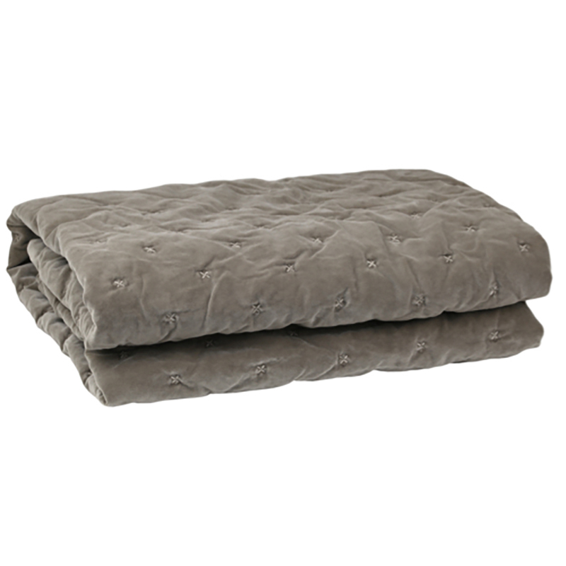 Velvet Quilted Throw Taupe