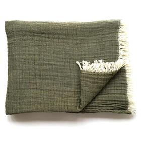 Soft Cotton Throw Khaki Green