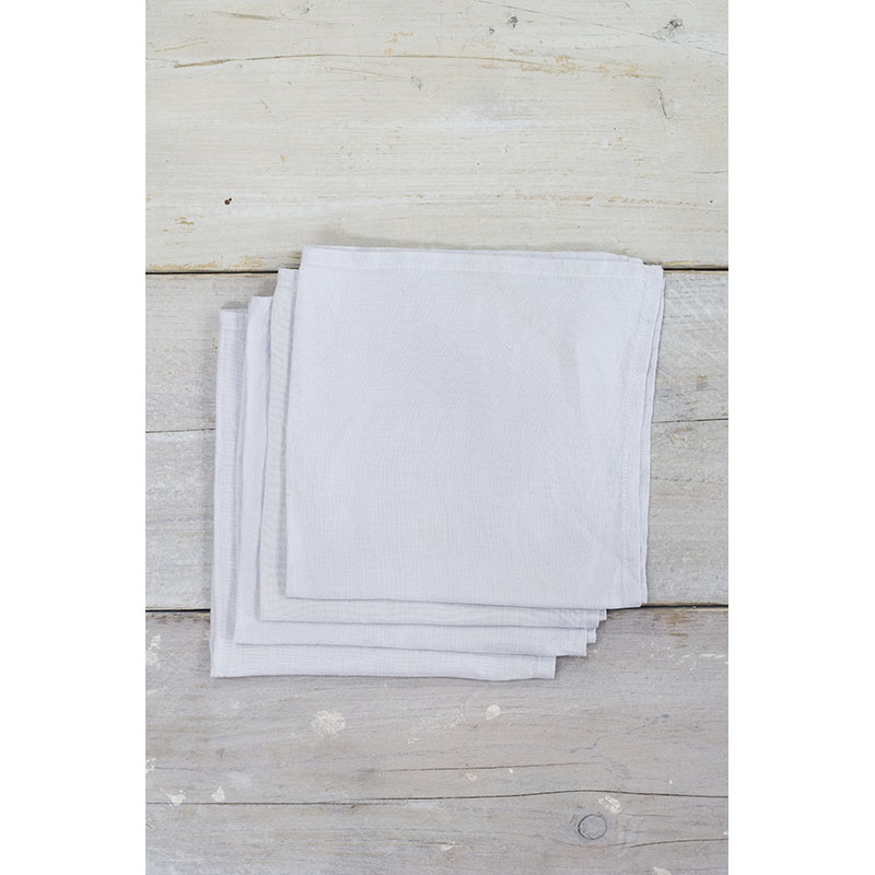 Linen Napkins Silver Grey Pack of 4