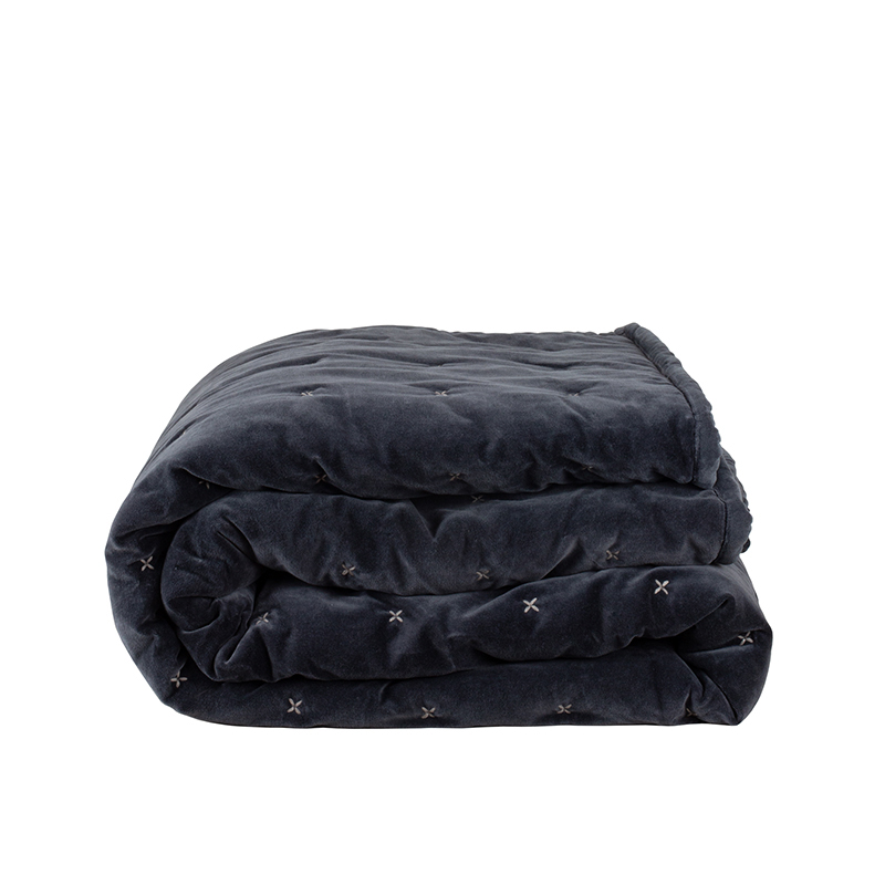 Aby Dark Grey Velvet Criss Cross Throw 220x230cm