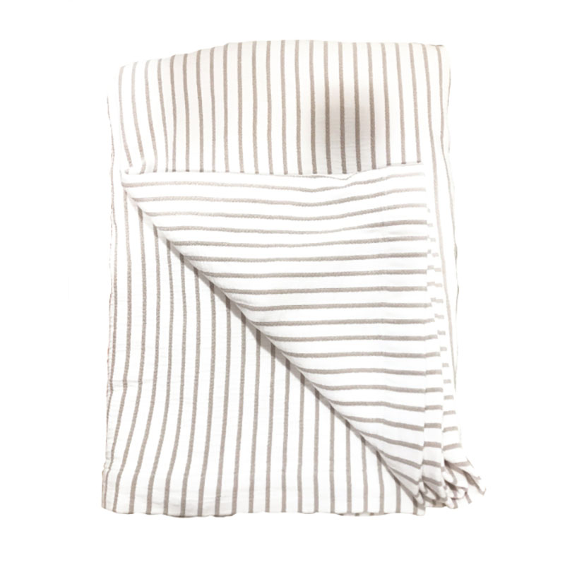 Hikari Taupe & White Striped Throw 180x200cm