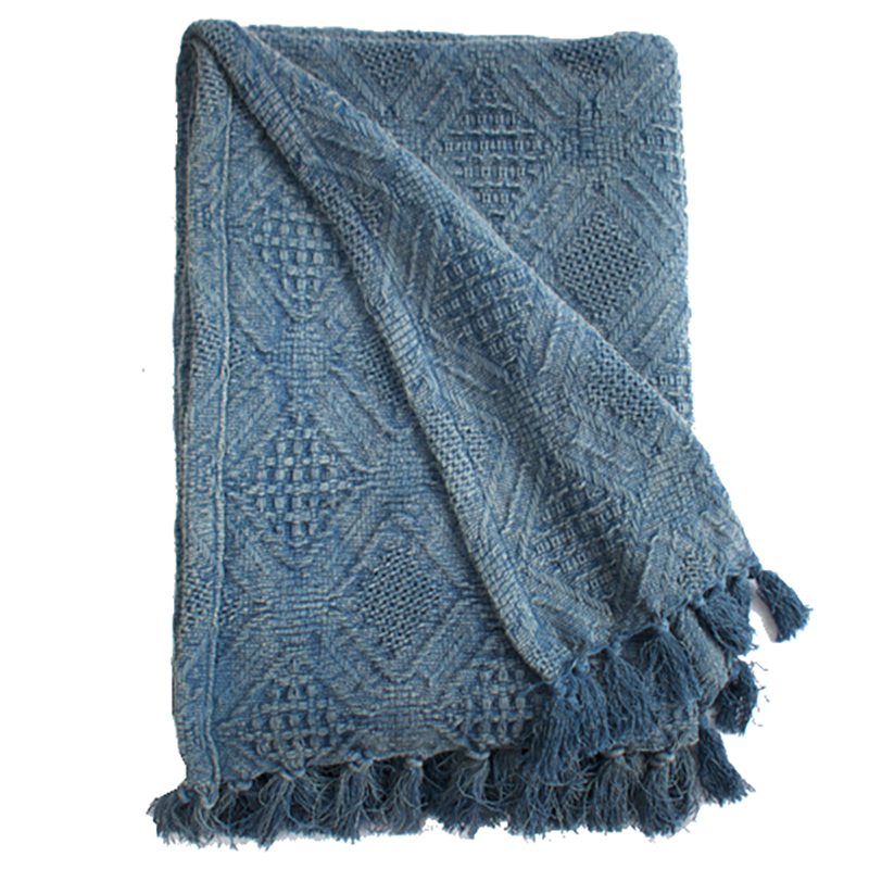 Diamond Jacquard Throw - Bleached Denim