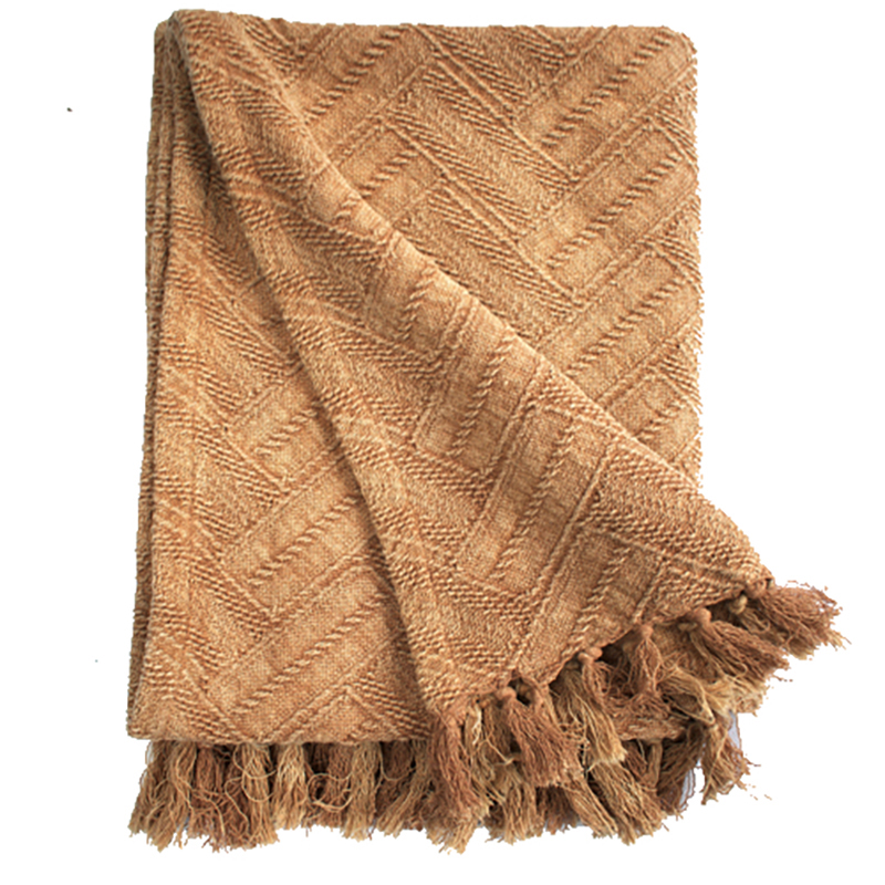Herringbone Jacquard Throw - Soft Rust