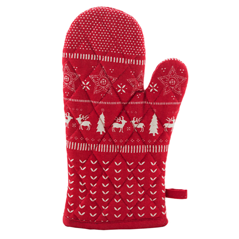 Christmas Jumper Print Oven Glove - Red