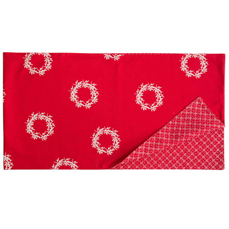 Christmas Wreath Table Runner Red