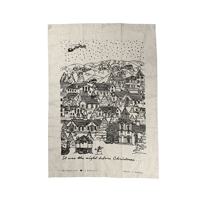 Night Before Christmas Tea Towel - Black