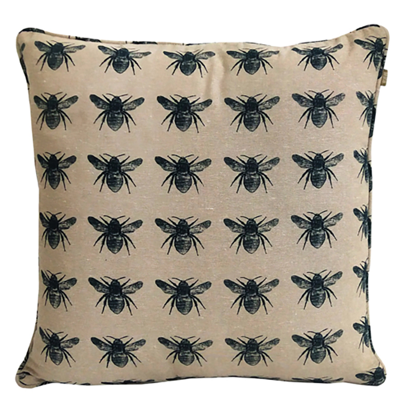 Recycled Honey Bee cushion Prussia Blue