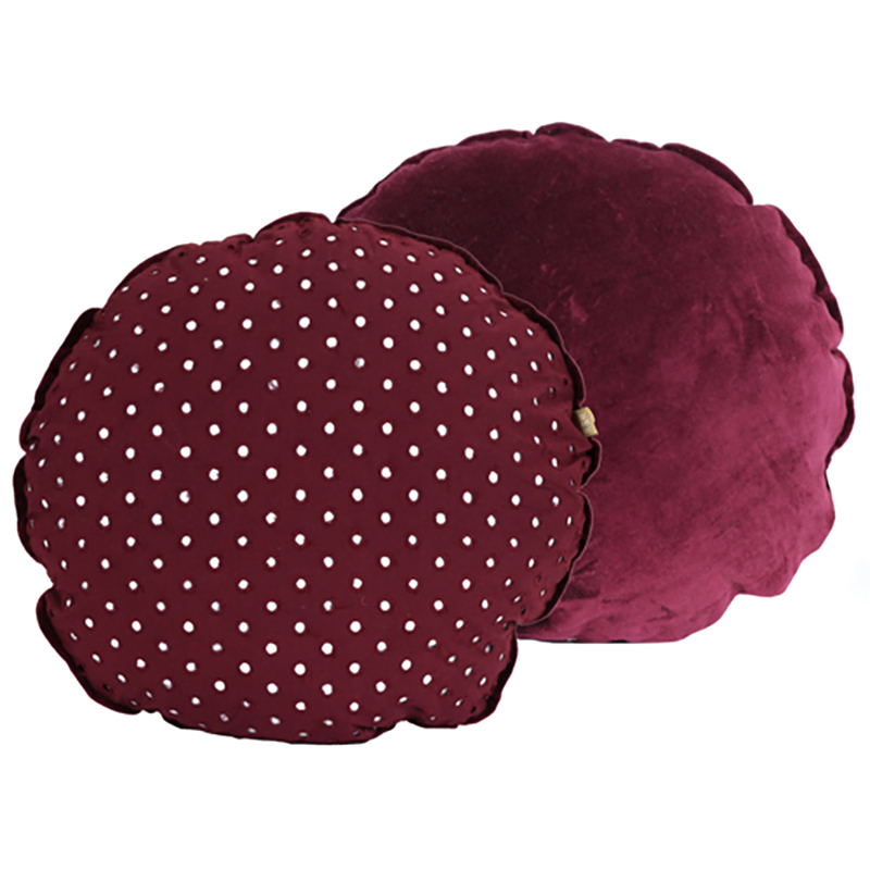 Cygnet lace round Cushion - Ruby Red
