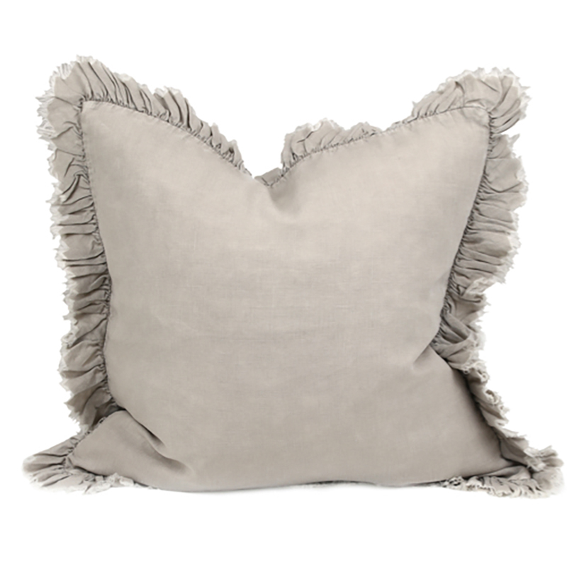 Linen Frill Cushion Taupe
