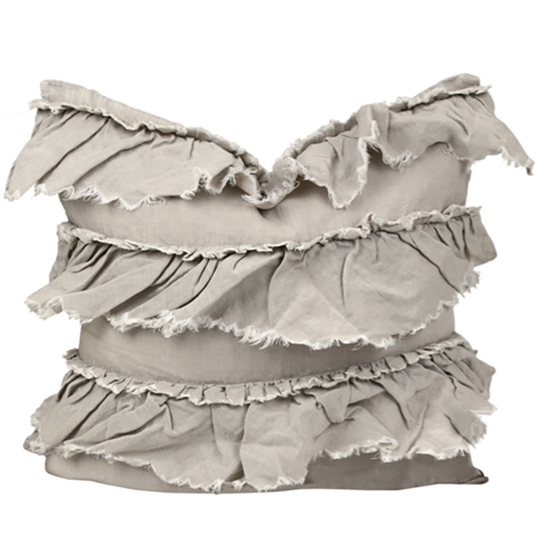 Linen Layer Frill Cushion Taupe