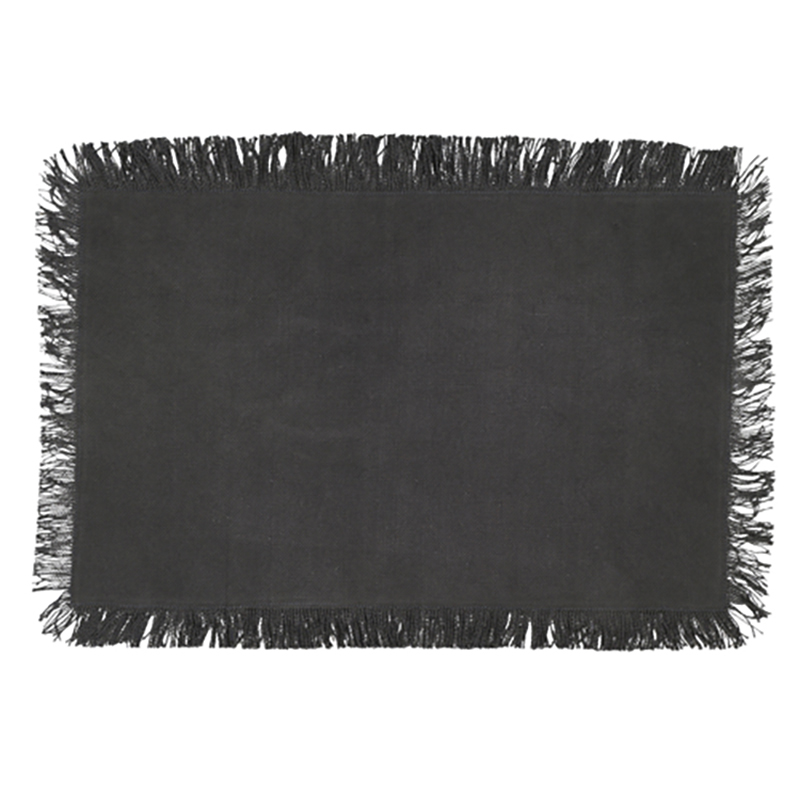 Jute Placemat with Tassel Charcoal Single packaged