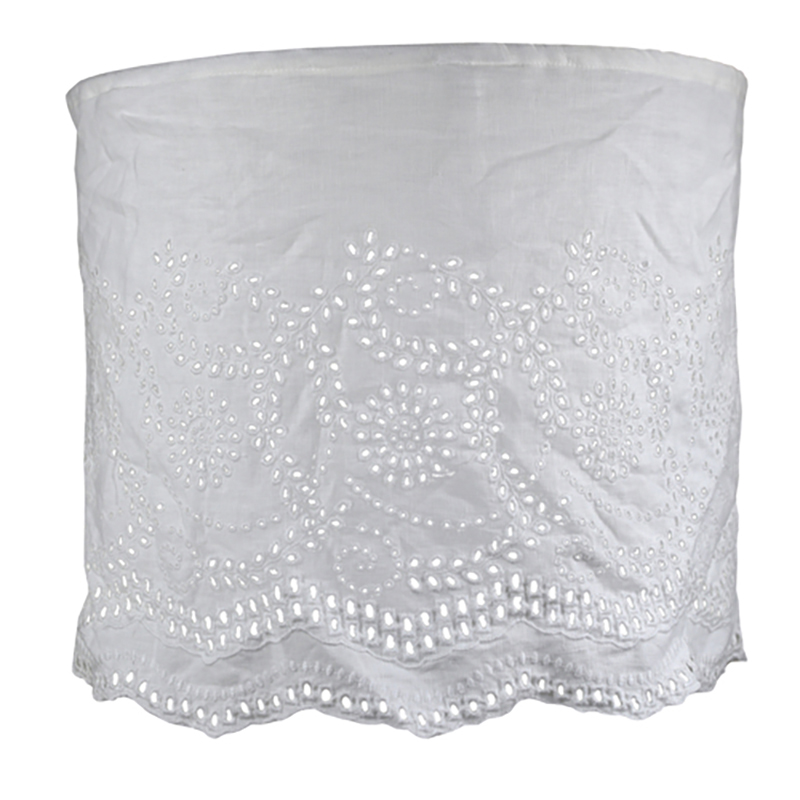Linen Lampshade with Embroidery White