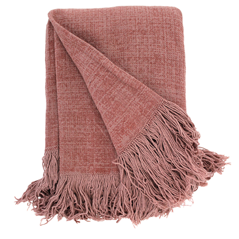 Jute cotton throw Mushroom Pink