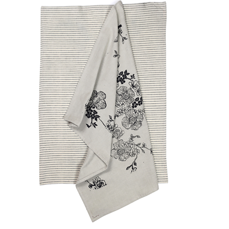 Rose Garden Tea Towel 2 Pack Charcoal
