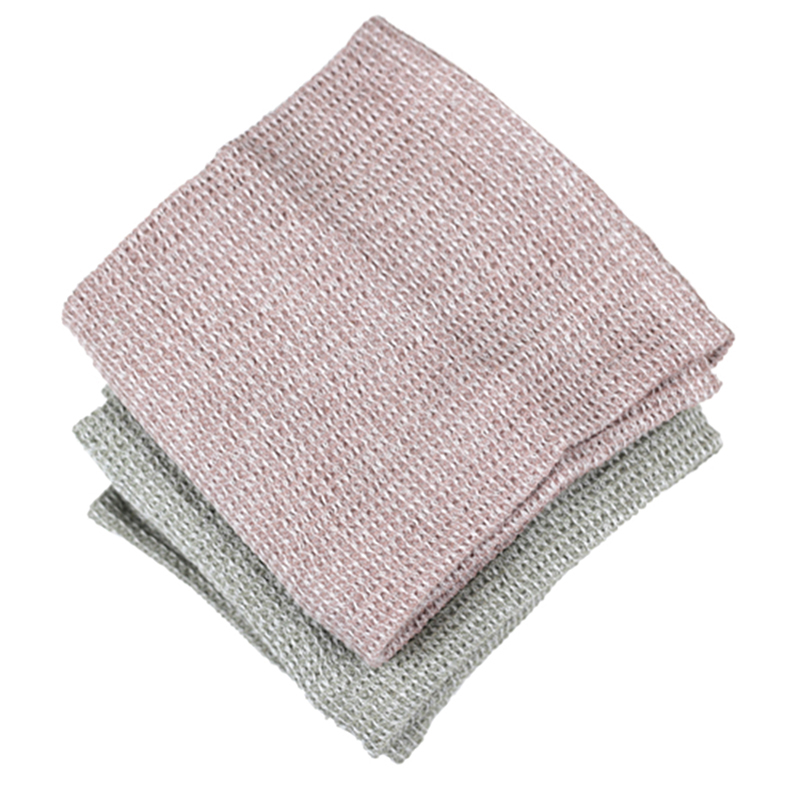 Chambray Waffle Hand/Tea Towel Pack Set of 2 Taupe & Pink