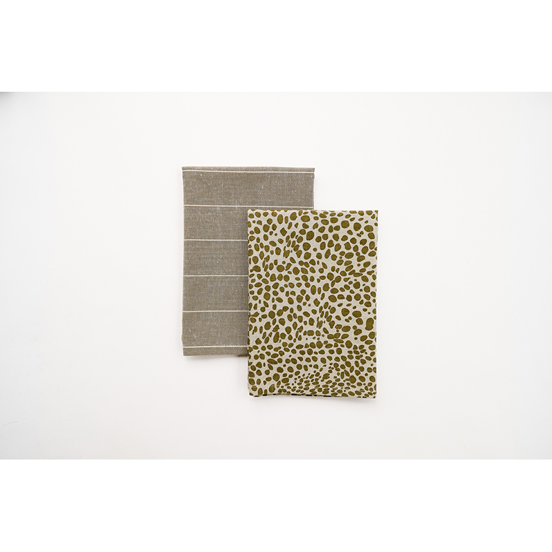 Animal Print Tea Towel Pack Khaki Green