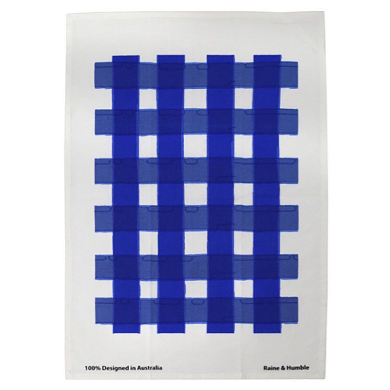 Watercolour Gingham Tea Towel Brilliant Blue