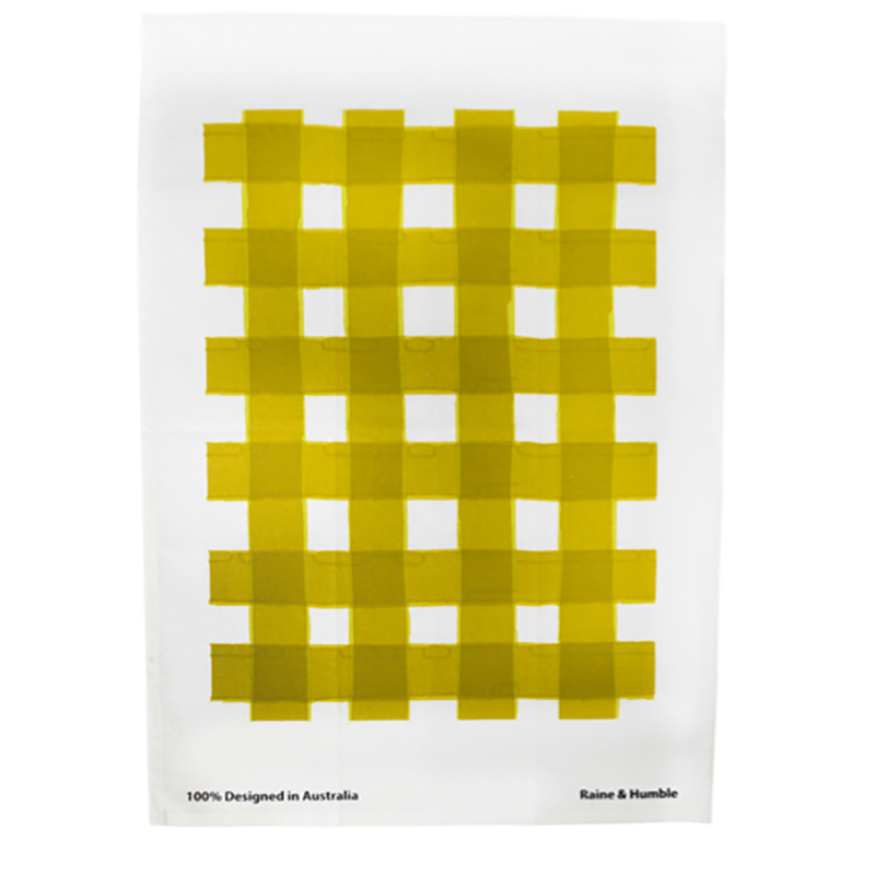 Watercolour Gingham Tea Towel Moss Green